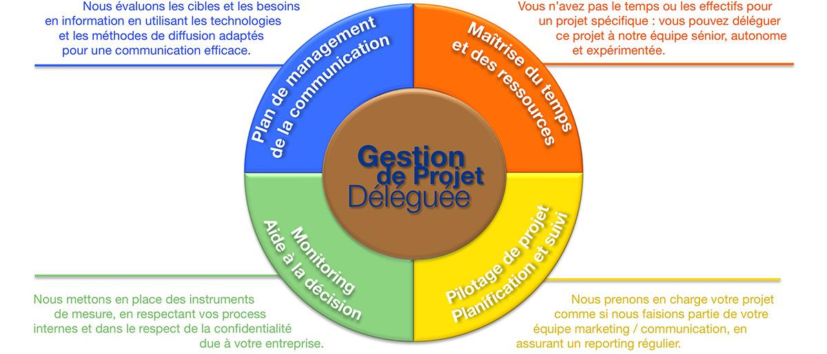 Gestion de projet déléguée. Plan de management de la communication. Maîtrise du temps et des ressources. Pilotage de projet. Planification et suivi. Monitoring. Aide à la décision.