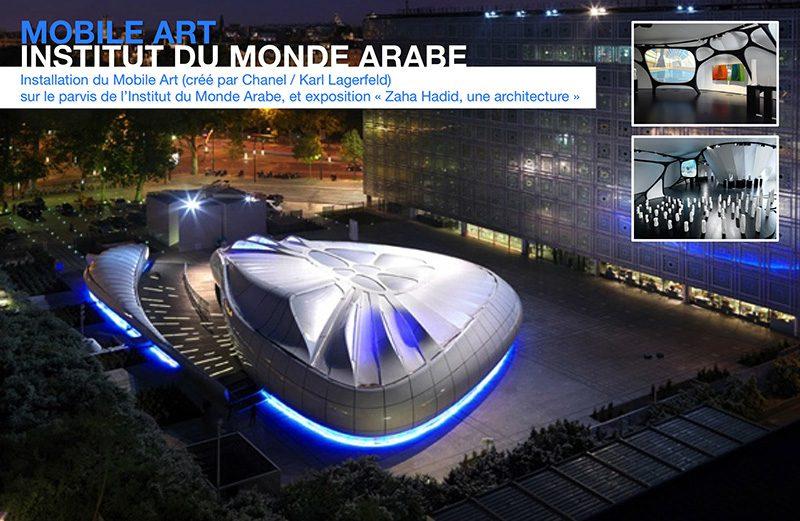 Mobile Art : Institut du monde arabe. Installation du Mobile Art (créé par Chanel / Karl Lagerfeld) sur le parvis de l'Institut du Monde Arabe, et exposition « Zaha Hadid, une architecture ».